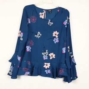 Ana floral top with bell sleeves